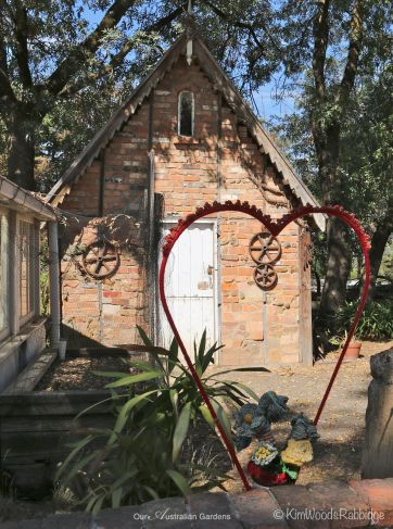 A heart made by local 'yarn bombing' artists Margaret Summerton and Robina Summers who had a residency at Montsalvat in September 2013.