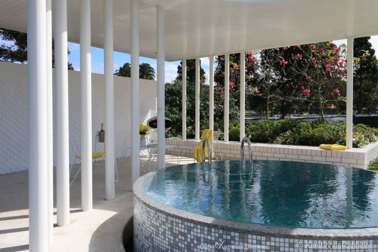 Handmade tiles surround the tempting plunge pool overlooking the garden.