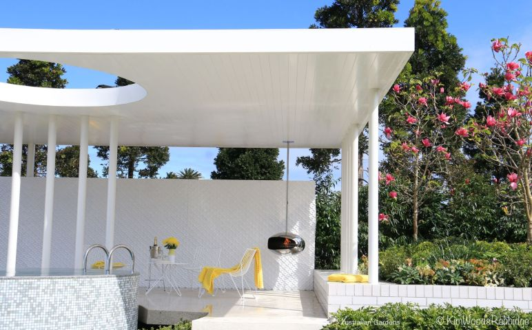 Open sides create an airy pavilion.
