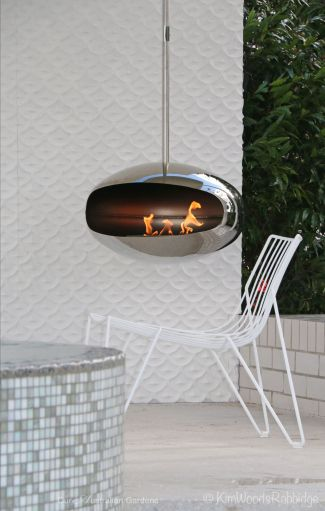 Suspended cocoon fireplace from Top3 by Design