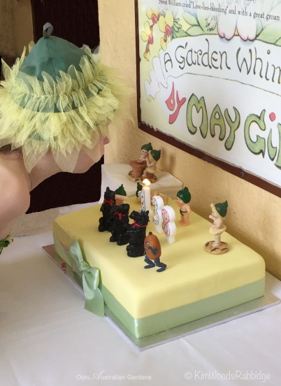 A visiting gumnut blew out the candles on her cake.