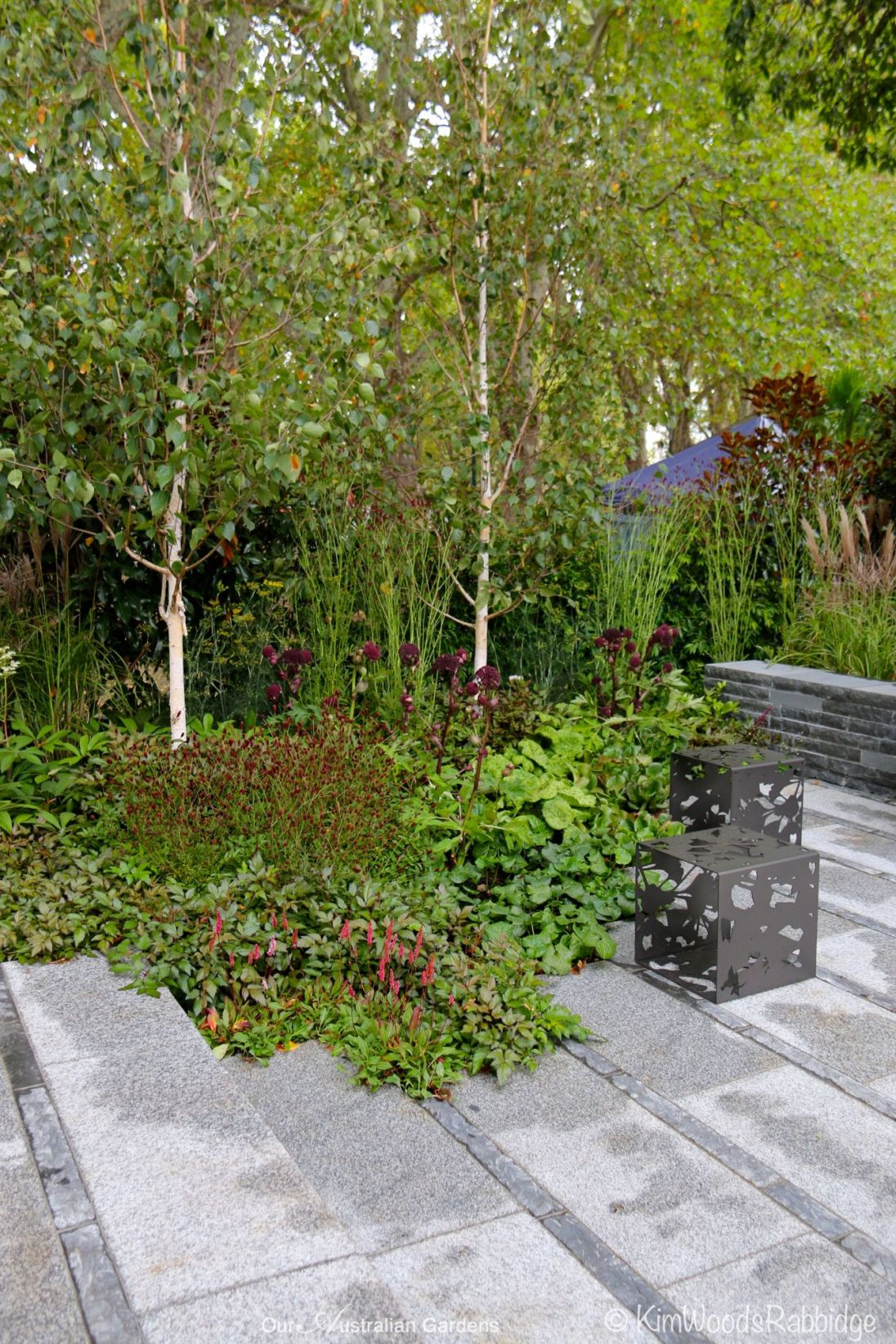 'Granito Grey' paving interspersed with strips of bluestone.