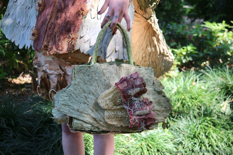 Detail: Bag and shoes -in the garden and from the garden.