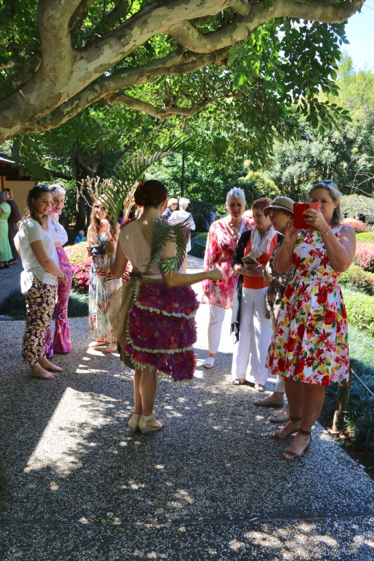 Visitors admiring the outfits in Horti-Couture, 2017.
