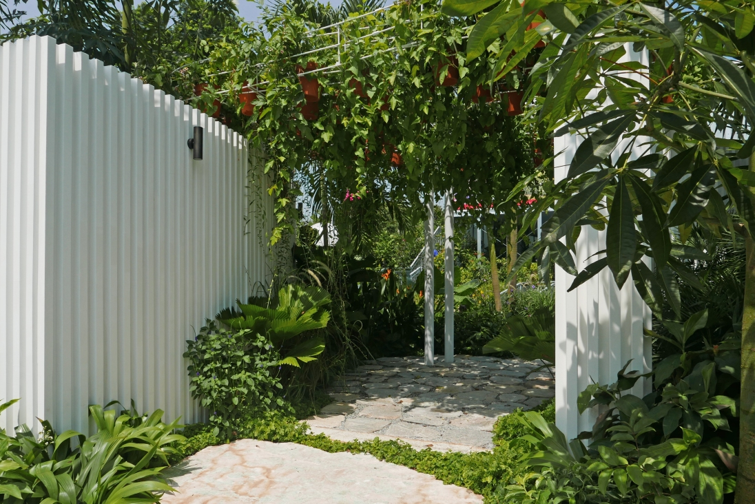An inviting pathway leads through Myles Baldwin's Singapore garden.